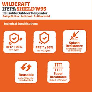 Wildcraft SUPERMASK W95 Reusable Outdoor Respirator - Pack of 9
